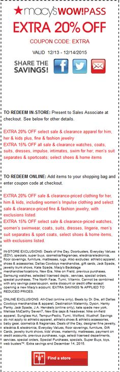 Pinned December 14th: Extra 20% off today at #Macys or online via promo code EXTRA #coupon via The #Coupons App