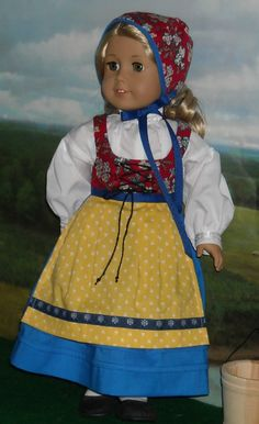 Swedish Style Folk Costume by KMK Fits American Girls Like Kirsten and Others | eBay kmkdollshop sold for $34.99