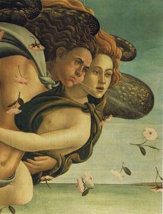 'Birth of Venus,' detail of the winds by Italian Renaissance painter Sandro Botticelli (1444/45-1510). Uffizi Gallery, Florence. via petrus.agricola on flickr