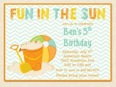 Beach Birthday Invitation Printable Chevron Summer Party On Etsy 1000 One Year