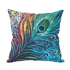 Beautiful Peacock Tail Personalized 18x18 Inch Square Cotton Blend Linen Throw Pillow Case Decor Cushion Covers
