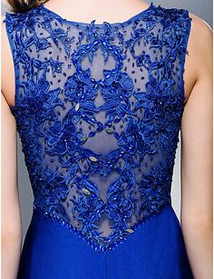 Formal Evening Dress - Royal Blue Trumpet/Mermaid Queen Anne Sweep/Brush Train Jersey – CAD $ 166.79