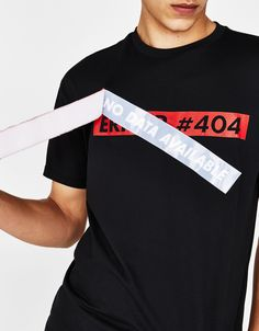 T-shirt with slogan strip - T-Shirts - Bershka United Arab Emirates Men Design, Fashion Details, Slogan, Graphic Tees, Shirt Designs, Tee Shirts, Street Style, Sweatshirts, Cotton