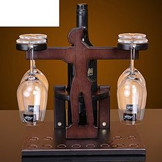 Wooden wine rack barHanging cup holderswine rackCreative wine rack -- Find out more about the great product at the image link. Wooden Wine Holder, Wine Glass Holder, Wine Table, Game Boards, Wine Bottle Holders, Wine Racks, Candle Sconces, Home Projects, Diy And Crafts