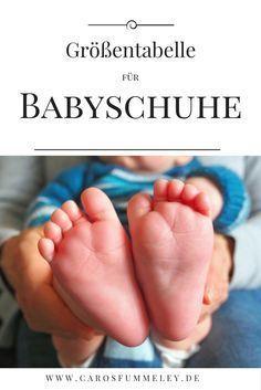 Tabelle mit Größenangaben für Babyschuhe und Babybooties zum Stricken und Häkeln – Caros Fummeley