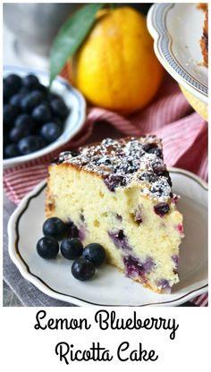 Lemon Blueberry Ricotta Tea Cake with extra. Lemon Blueberry Ricotta Tea Cake with extra blueberries Lemon Desserts, Lemon Recipes, Just Desserts, Sweet Recipes, Baking Recipes, Delicious Desserts, Cake Recipes, Dessert Recipes, Yummy Food