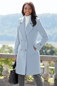 3/4 Length Double Breasted Wool Coat: Classic Women's Clothing from #ChadwicksofBoston $129.99