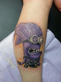 evil minion tattoo by jeremiah klein at Iron Lotus Tattoo Cedar Rapids Cartoon Tattoos, Disney Tattoos, Lotus Tattoo, Tattoo You, Minions Funny Images, Minions Quotes, Funny Minion, Funny Pics, Funny Jokes