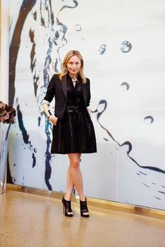 Lubov takes a chic spring eyelet dress to work with a cool blazer, then straight to dinner with dramatic accessories.