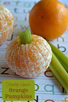 Healthy Fall Snacks: Easy Orange Pumpkins     Happy-Mothering.com
