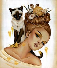 cat in gold paint...