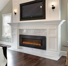 Fireplaces Slimline Series Wall Hanging Electric Fireplace - Big George's Home Appliance Mart Tv Over Fireplace, Fireplace Redo, Fireplace Doors, Fireplace Built Ins, Bedroom Fireplace, Fireplace Remodel, Living Room With Fireplace, Fireplace Surrounds, Fireplace Design