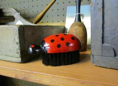 Ladybug Brush Wooden Clothing Whisk Vintage by WillowValleyVintage