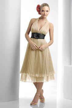 yellow organza halter tea length bridesmaid dresses BD138