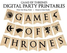 Game of Thrones - Full Alphabet and 7 House Sigils - Bunting Banner Party Printables