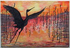 Silent Soliloquy - Art Quilt by Deborah Wirsu. Hand painted fabric, thread sketched.