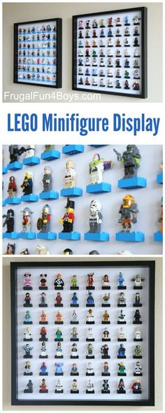 IKEA Frame LEGO Minifigure Display and Storage - Each frame holds 56 LEGO guys. Make one or a few for a huge collection. Check out new & improved Check Lego storage organzier - launching soon on Kickstarter Mesa Lego, Marco Ikea, Lego Minifigure Display, Lego Display Case, Toy Display, Ikea Frames, Ikea Ribba Frame, Lego Man, Toy Rooms