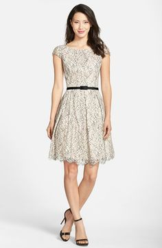Free shipping and returns on Eliza J Lace Fit & Flare Dress (Regular & Petite) at Nordstrom.com. A slim belt accentuates the gracefully flared silhouette of a lacy cap-sleeve dress topped with a flattering scooped neckline.
