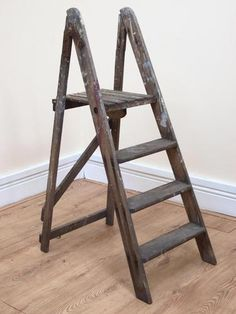 """Vintage Rustic Wooden Folding Step Ladders Bookcase Stage Prop. Height 44""""   eBay"""