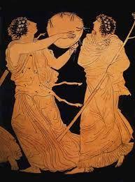 Dibujo en vasija de Ática del s. V a.c. Danza a Dionisio