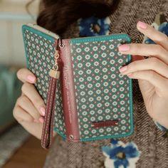 Full Set (Wallet Case + Strap) : Diners Dior Handmade Wallet Case - Burgundy