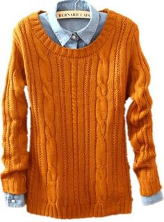 Orange Sweater. Outfit du'jour. Love looking at pinterest for outfit inspiration of things I sometimes already have in my closet.