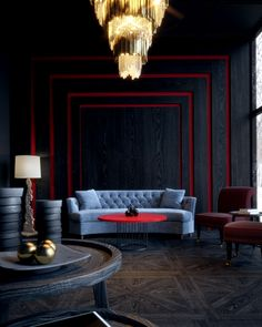 38 the ultimate guide to creating a sophisticated home 27 Interior Design Living Room, Living Room Designs, Interior Decorating, Red Interior Design, Art Deco Living Room, My Living Room, Dark Interiors, Beautiful Interiors, Interior Inspiration