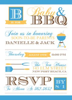 Boys Baby Shower Invitations, Baby BBQ...these are too expensive, but I like the idea for a co-ed shower