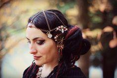 Mucha Headdress- Wandering Star- Tribal Fusion Headpeice Art Nouveau Bellydance Belly Dance Boho Wedding Party