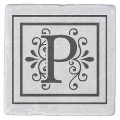 #monogrammed - #Letter P Monogram Stone Coasters