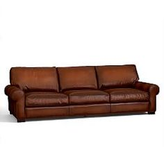 Sofa Sale Turner Roll Arm Leather Sleeper Sofa Down Blend Wrapped Cushions Saddle