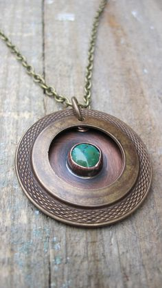 Turquoise Mixed Metal Necklace by CopperTreeArt on Etsy