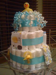 Perfect baby shower gift, that can be a centerpiece for a rubber ducky shower. I love the bubble effect.