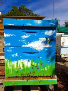 Bee Hive Boxes Beautifully Hand-Painted Made by by RedDogRustic Bee Hives Boxes, Bee Boxes, Beekeeping For Beginners, Backyard Beekeeping, Bee Art, Save The Bees, Bee Happy, Bees Knees, Bee Keeping