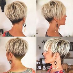 Black and Blonde Pixie with V-Cut Nape - . Black and Blonde Short Thin Hair, Short Hair Cuts, Thick Hair, Back Of Short Hair, Pixie Cuts, Straight Hair, Wavy Hair, Pixie Hairstyles, Short Hairstyles For Women