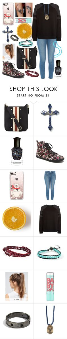 """""""And I'm a nun"""" by katherineried ❤ liked on Polyvore featuring Neiman Marcus, Deborah Lippmann, Black Poppy, Casetify, Frame, New Look, Chan Luu, NIKE, Maybelline and Catherine Michiels"""