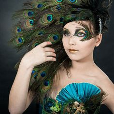 Peacock Feather Inspired Eye Make Up