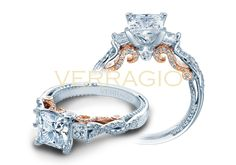 Three-diamond styled engagement ring combined with twist band and finished in white and rose gold for a unique look. Easy to personalize your Verragio!