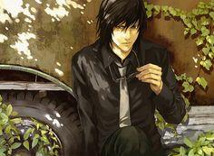/tg/booru - black hair character glasses male modern modern fantasy overgrown red eyes shaggy hair suit tagme