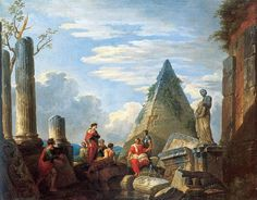 Roman Ruins with Figures by Giovanni Paolo Pannini (1691-1765, Italy)