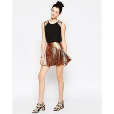 Antipodium Retriever Skirt In Bronze ($69) ❤ liked on Polyvore featuring skirts, mini skirts, bronze, mini skirt, tall skirts, high-waist skirt, crinkle skirt and metallic high waisted skirt