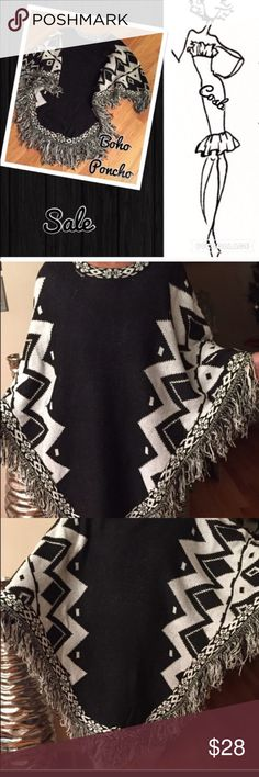 1/2 Off! Aztec Black & White Poncho Aztec Black & White Poncho. Poncho has Aztec print throughout & fringes @ the end. Full & warm. Cosb Jackets & Coats Capes