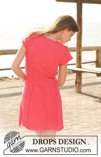 "DROPS dress in ""Muskat"" with lace pattern and short sleeves. Size S to XXXL. ~ DROPS Design"