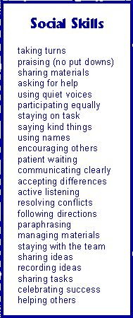 Social Skills - could put some of these in play with little ones in partners or small groups