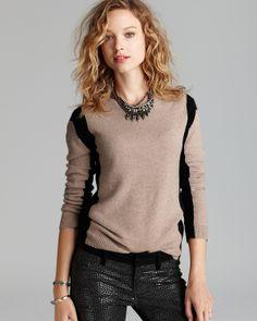 Aqua Cashmere Sweater - Vertical Color Block Crewneck   Bloomingdale's