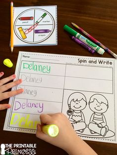 A fun way to get kids to practice writing their name. They spin the spinner to choose which writing utensil to use.
