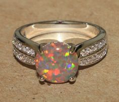 fire opal Cz ring gemstone silver jewelry Sz 8 chic modern cocktail style M2E #Cocktail