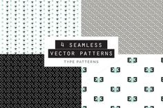 Type Seamless Patterns Set of 4 by Youandigraphics on Embroidery Patterns, Quilt Patterns, Knitting Patterns, Sewing Patterns, Crochet Patterns, Vector Pattern, Pattern Art, Pattern Design, Free Pattern