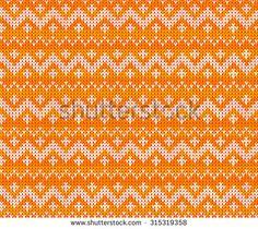 Orange knitted Scandinavian ornament vector seamless pattern