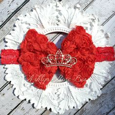 Red Princess Crown/ Tiara Rosette Bow Headband by AshlynRoseBows